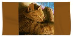 Orange Cat Sleepy Time Hand Towel
