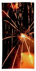 Hand Towel featuring the photograph Orange Chetola Fireworks by Meta Gatschenberger