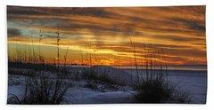 Orange Clouded Sunrise Over The Pier Bath Towel