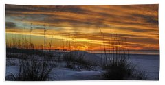 Orange Clouded Sunrise Over The Pier Hand Towel