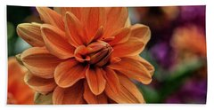 Orange Dahlias Bath Towel