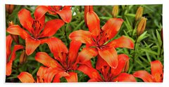 Hand Towel featuring the photograph Orange Day Lillies by Mary Jo Allen
