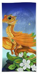 Hand Towel featuring the digital art Orange Dragon by Stanley Morrison