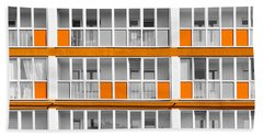 Orange Exterior Decoration Details Of Modern Flats Hand Towel by John Williams