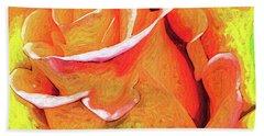 Orange Flame Rose Hand Towel