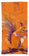 Orange Forest Squirrel Hand Towel