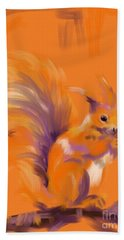 Orange Forest Squirrel Bath Towel by Go Van Kampen