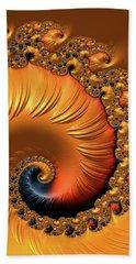 Hand Towel featuring the digital art Orange Fractal Spiral Warm Tones by Matthias Hauser