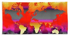 Orange Glow World Map Bath Towel