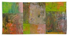 Bath Towel featuring the painting Orange Green And Grey by Michelle Calkins