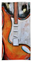 Orange Guitar Hand Towel