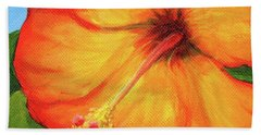 Orange Hibiscus Flower Hand Towel