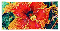 Orange Hibiscus In Crepe - Full View Hand Towel
