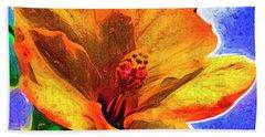 Orange Hibiscus Bath Towel by Kirt Tisdale