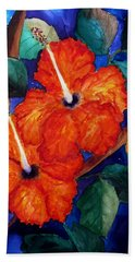 Orange Hibiscus Bath Towel