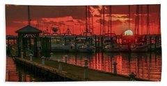 Orange Marina Sunrise Bath Towel by Tom Claud
