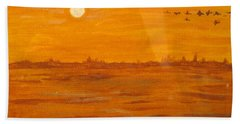Hand Towel featuring the painting Orange Ocean by Ian  MacDonald