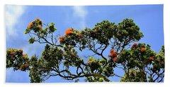 Orange Lehua On A Ranch In Volcano, Hawaii  Hand Towel