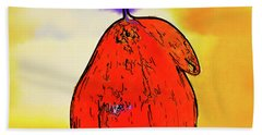 Hand Towel featuring the digital art Orange Pear Watercolor by Kirt Tisdale