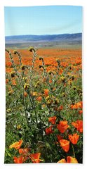 Hand Towel featuring the mixed media Orange Poppies And Fiddleneck- Art By Linda Woods by Linda Woods