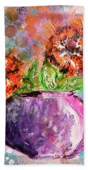 Hand Towel featuring the mixed media Orange Poppies by Lisa McKinney