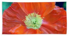 Orange Poppy Flower Bath Towel by Haleh Mahbod