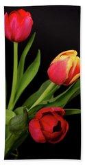 Orange Red, And Yellow Tulips Hand Towel