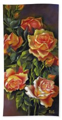 Orange Roses Bath Towel by Katia Aho