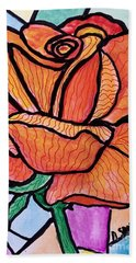 Orange Stained Glass Rose Bath Towel