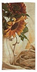 Orange Sunflowers - Found In The Attic Hand Towel