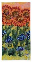 Orange Sunset Flowers Hand Towel