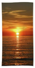 Orange Sunset Lake Superior Hand Towel