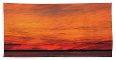 Orange Sunset On The New Jersey Shore Bath Towel