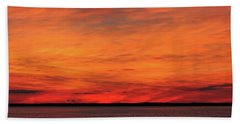 Orange Sunset On The New Jersey Shore Hand Towel