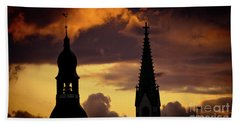 Orange Sunset View In Old Town Riga Artmif Bath Towel