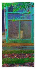 Orange Tabby Cat Screened Door - Granny's Cat Hand Towel