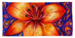 Orange Tiger Lily Drawing Bath Towel