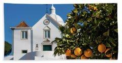 Orange Tree And Church - Castro Marim, Portugal Bath Towel