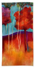 Bath Towel featuring the painting Orange Trees by Elizabeth Fontaine-Barr