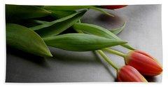Orange Tulips Bath Towel by Mary-Lee Sanders