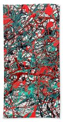Hand Towel featuring the painting Orange Turquoise Drip Abstract by Genevieve Esson
