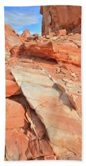 Orange Valley In Valley Of Fire Hand Towel by Ray Mathis