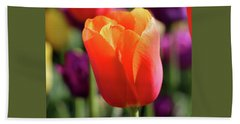 Orange Tulip Square Hand Towel