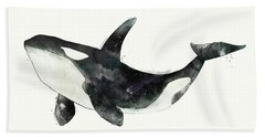 Orca From Arctic And Antarctic Chart Hand Towel by Amy Hamilton