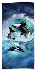 Orca Wave Hand Towel by Jerry LoFaro