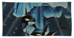 Hand Towel featuring the painting Orcas Versus Glacier by Dianna Lewis