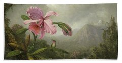 Orchid And Hummingbird Near A Waterfall Hand Towel