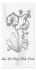Orchid Flower Botanical Drawing Black And White Hand Towel