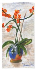 Bath Towel featuring the painting Orchid by Jamie Frier