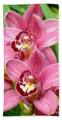 Bath Towel featuring the photograph Orchid Twins Up Close by Sue Melvin